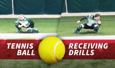 Catching tennis ball receiving drills