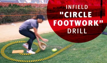 Taylor Van Zee teaching softball players the circle footwork drill