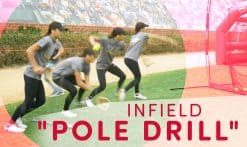 Taylor Van Zee teaching kids the infield pole drill