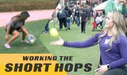 Taylor Van Zee teaching a short hops drill to athletes