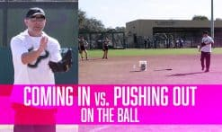 coming in vs. pushing out on the ball
