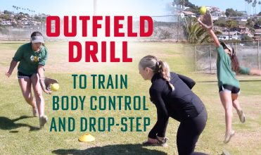 train body control and drop-step for outfielders